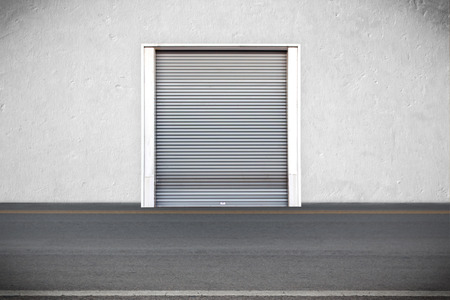 Roller shutters the factory buildings for warehouse Stock Photo