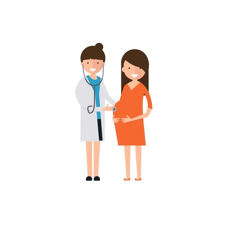 Doctors and pregnant check vector Illustration