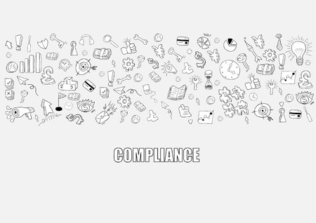 Business development doodles objects background, compliance,  drawing by hand vector Illustration