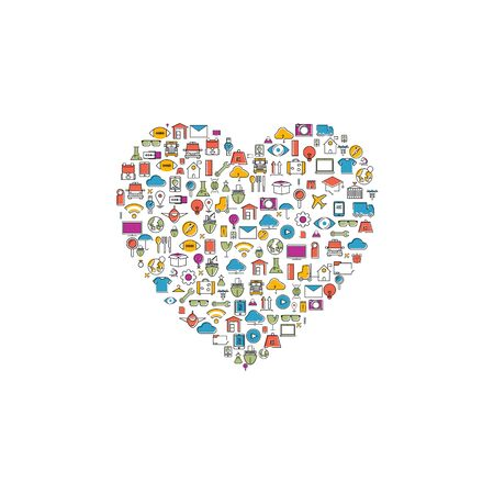 Heart icons color of technology school logistics internet tour planning and fashion icons,Modern infographic vector Illustration