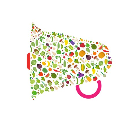 Megaphone vegetables fruits, vegetables, organic. Flat vector illustration