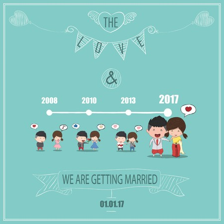 Duration cute cartoon Wedding couple men and women card, cute Valentines Day card, drawing by hand vector