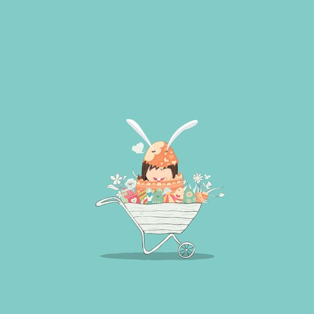Cartoon girl rabbit happy easter swinging on a cloud with eggs, drawing by hand vector, drawing by hand vector and digital illustration created without reference image. Ilustração