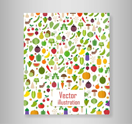 Book vegetables set: fruits, vegetables, organic. Flat vector illustration set. Vectores