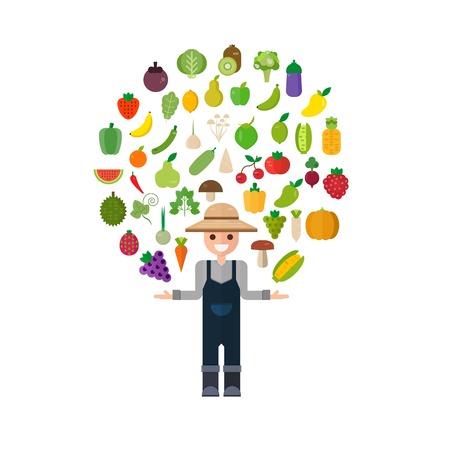 Isolated vegetables set: fruits, vegetables, organic. Flat vector illustration set.