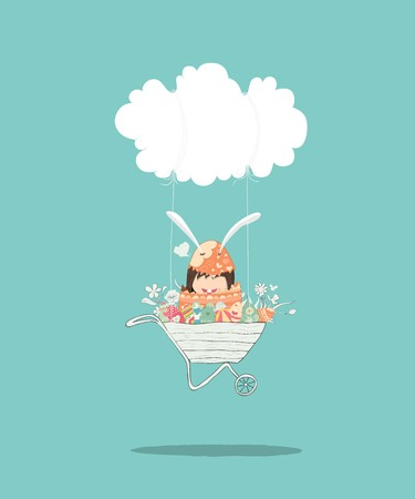 Cartoon girl rabbit happy easter swinging on a cloud with eggs, drawing by hand vector, drawing by hand vector and digital illustration created without reference image.  イラスト・ベクター素材