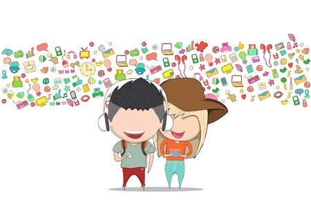 Teenage girl and boy wearing hat playing with phone happy template design thinking idea with social network icons background. Drawing by hand vector. Social network background with media icons.