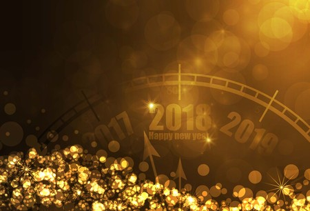 Happy new year 2018 gold color background. vector illustration