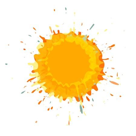 Orange color grunge splashes vector