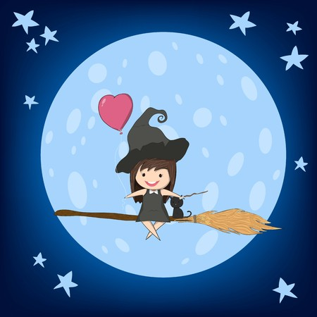 Witch cute and black ride on the swinging with broom on a moon, halloween, drawing by hand vector