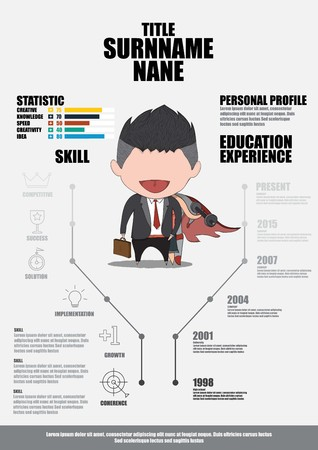 Infographics Resume | Flat Resume With Infographics Resume Vector Royalty Free Cliparts