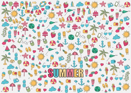 Vector illustration summer symbols and objects, drawing by hand vector.