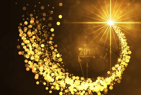 Happy new year gold color background. vector illustration  イラスト・ベクター素材
