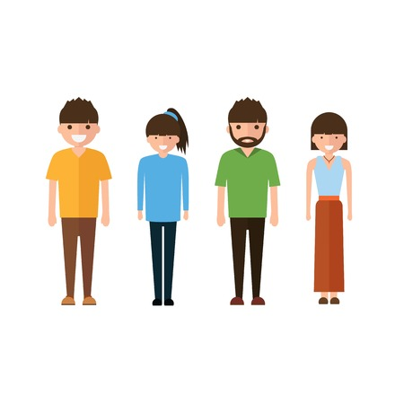 Set of style young people. in cartoon style Isolated on white background. Illustration