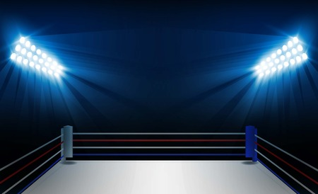 Boxing ring arena and floodlights vector design. Vector illumination Çizim