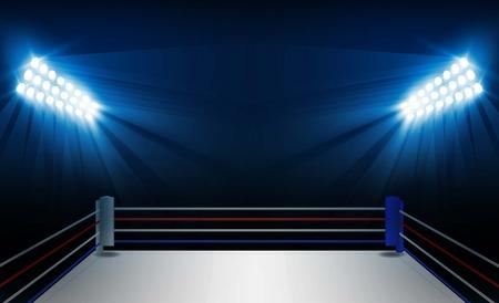 Ring bokserski i projekt wektor reflektorów. Oświetlenie wektorowe