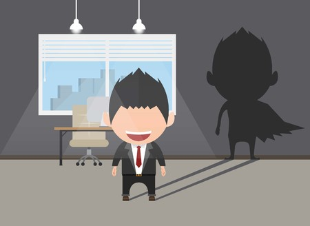 Business power concept. Businessman standing in front shadow his superhero. Self confidence. Future goal. Self development. Vector illustration. Illustration