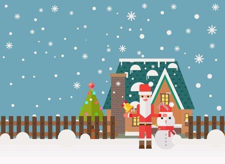Christmas and New Year santa gifts at home. Flat vector illustration.