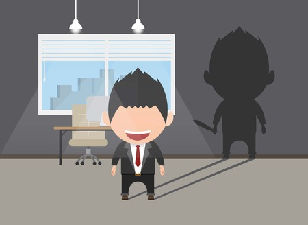 Business power concept. Businessman standing in front shadow his stab in the back. Self confidence. Future goal. Self development. Vector illustration. Illustration