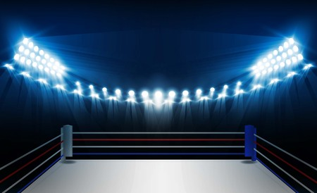 Boxing ring arena and floodlights vector design. Vector illumination Ilustração