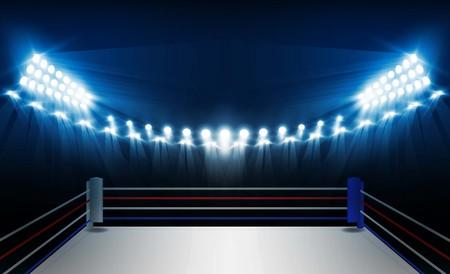QUipement de l & # 39 ; arène de boxe et projecteurs vecteur de conception . illumination Banque d'images - 93627672