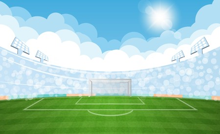 Football arena field with lights sun daytime vector design. Vector illustration