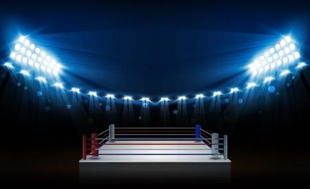 Boxringarena und Flutlichtvektordesign. Vektorbeleuchtung.