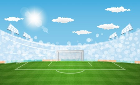 Football arena field with lights sun daytime vector design. Vector illustration