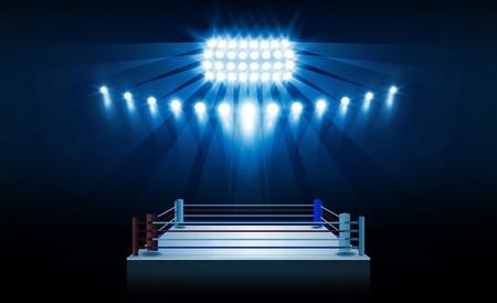 Boxring Arena und Scheinwerfer Vektor-Design Standard-Bild - 93784655