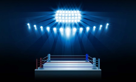 Boxing ring arena and floodlights vector design.