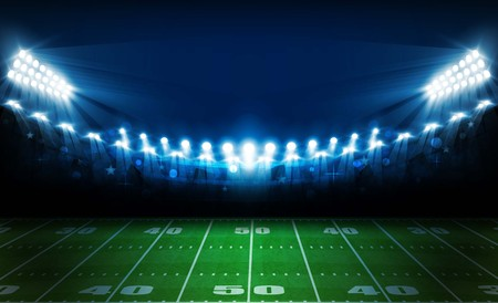 American football arena field with bright stadium lights design.