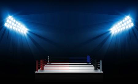 Boxring Arena und Scheinwerfer Vektor-Design