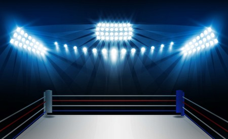 Boxing ring arena and floodlights vector design. Фото со стока - 93784952