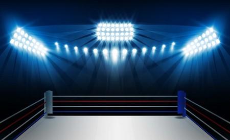 Ring bokserski i projekt wektor reflektorów.