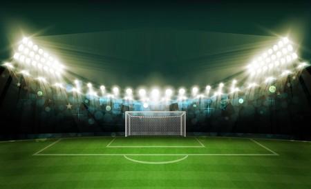 Het gebied van de voetbalarena met het heldere vectorontwerp van stadionlichten.