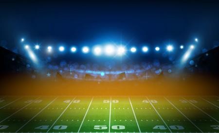 American football arena field with bright stadium lights design.