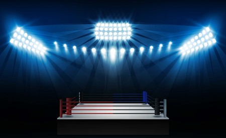 Boxing ring arena and floodlights vector design. Vector illumination Illustration