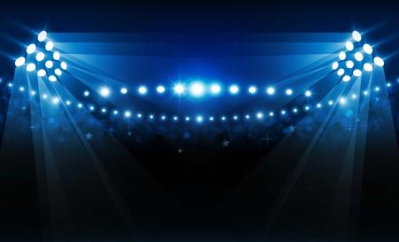 Football arena field with bright stadium lights vector design. Vector illumination