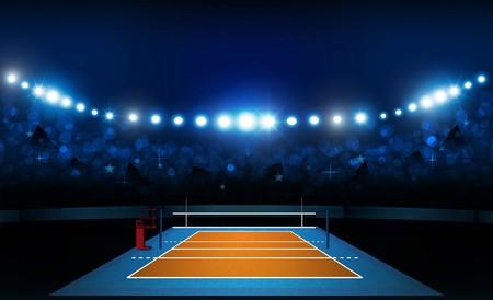Volleyball court arena field with bright stadium lights design. Vector illumination Stock Illustratie