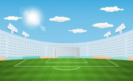 Football arena field with lights sun daytime vector design. Vector illustration Banco de Imagens - 102732964