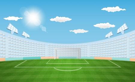 Fußballarena-Feld mit Lichtsonnen-Tageszeitvektorentwurf. Vektorillustration