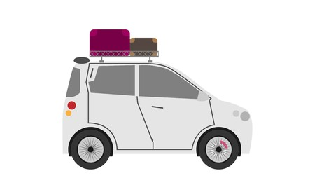 Car with suitcases luggage on roof rack, vector illustration  イラスト・ベクター素材