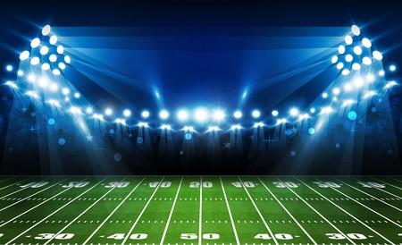 American football arena field with bright stadium lights design. Vector illumination