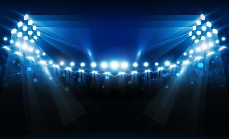 Terrain d'arène de football avec conception de vecteur de lumières de stade lumineux. Illumination vectorielle Vecteurs