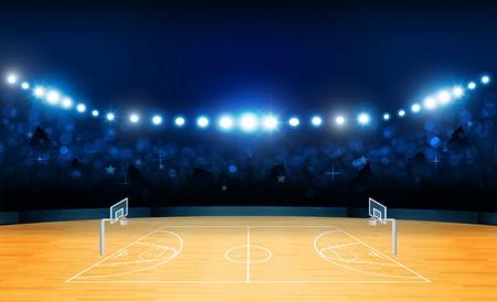 Terrain d'arène de basket-ball avec des lumières de stade lumineuses. Illumination vectorielle