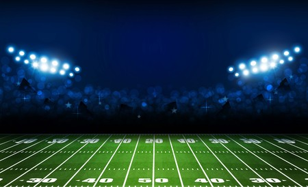 Campo de fútbol americano con diseño de luces de estadio brillante. Iluminación vectorial