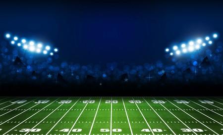 Campo dell'arena di football americano con un design luminoso delle luci dello stadio. Illuminazione vettoriale