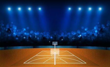 Basketball arena field with bright stadium lights design. Vector illumination Stock Illustratie