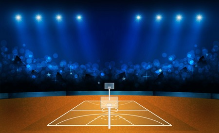 Basketball arena field with bright stadium lights design. Vector illumination Çizim