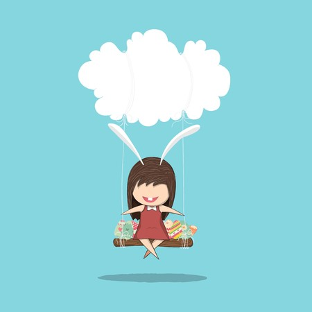 Cartoon girl rabbit happy easter swinging on a cloud with eggs, drawing by hand vector, drawing by hand vector and digital illustration created without reference image. Illustration